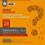 Foro sobre educación y ciudadanía se realizará el miércoles 28 de febrero
