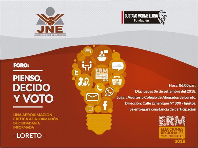 Foro ciudadano sobre educación electoral se realizará en Loreto
